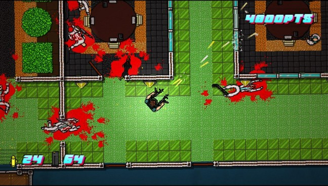 The vivid colours of Hotline Miami look great on a small screen.